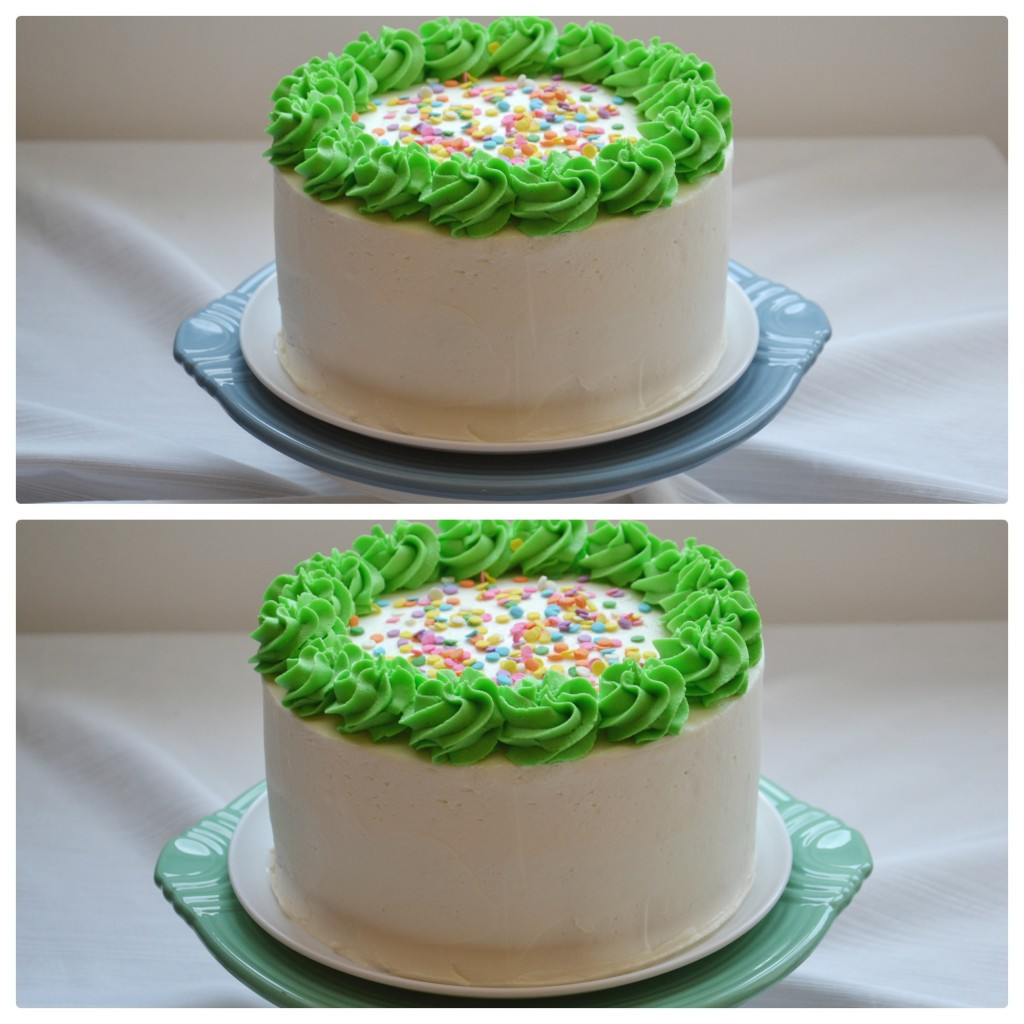 white cake green swirls plates