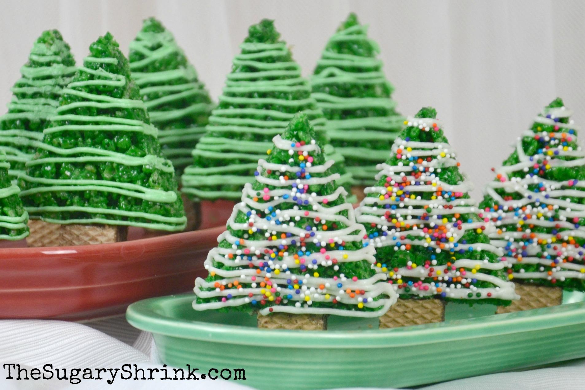 Rice Krispie Christmas Trees   The Sugary Shrink