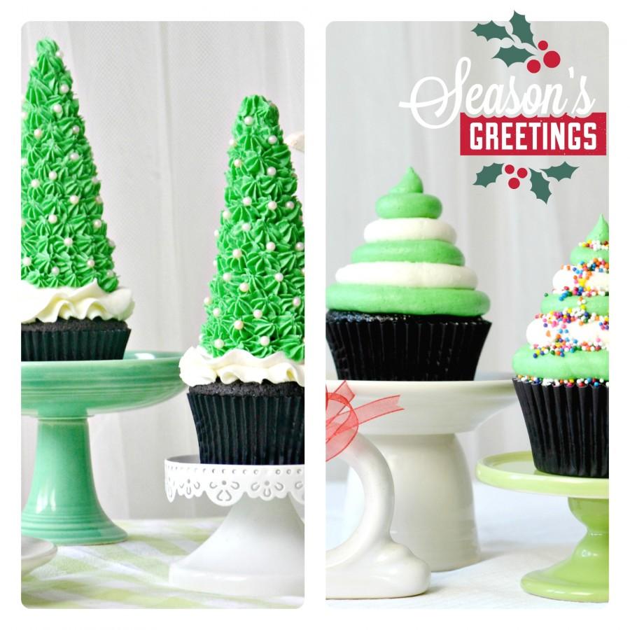 choc cupcakes xmas tree collage greeting
