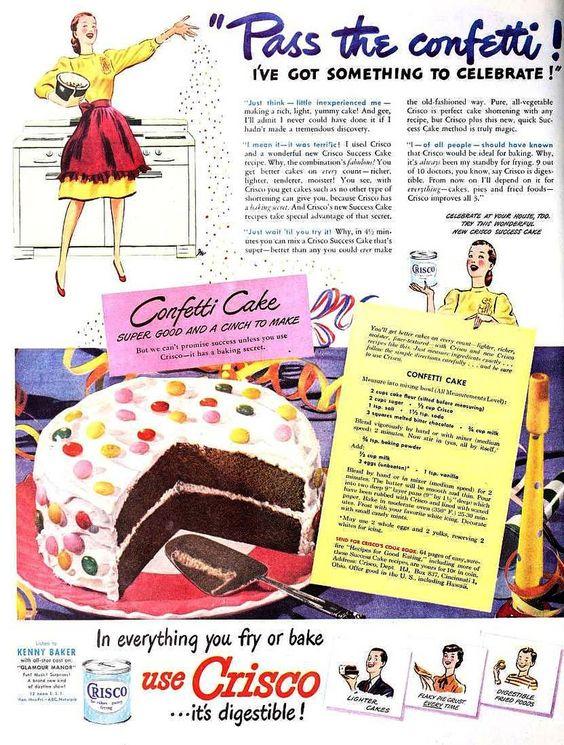 vintage ad cake confetti
